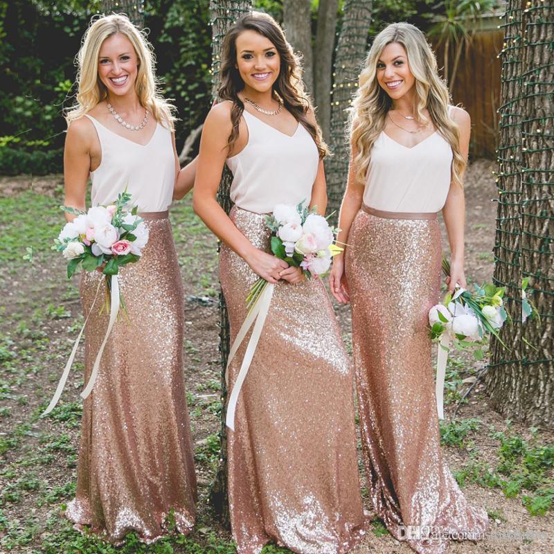 Modest White Rose Pailletten Brautjungfer Kleider Langes Ankleiden Mädchen Ehrenkleider Korsett Günstige Land Boho Brautjungfern Kleid plus Größenkleid