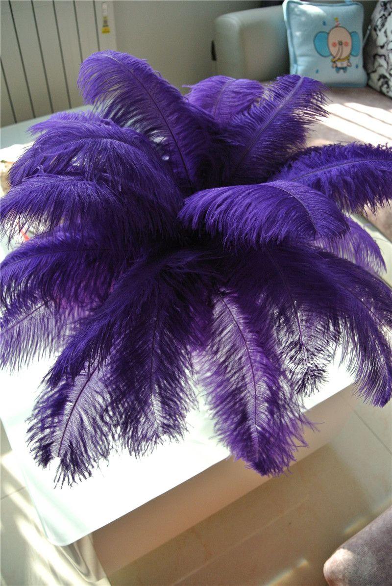 Оптовая 100 шт. / лот 14-16 дюймов фиолетовый страус перо шлейфа для свадебного декора свадебный центральный ну вечеринку событие праздничный декор