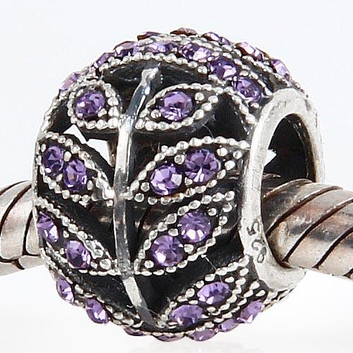 Tanzanite Austriacki Rhinestone Leaf Luźne Koraliki 925 Sterling Silver Pasuje do Europejskiej Pandora Czarowna Biżuteria Bransoletka Akcesoria
