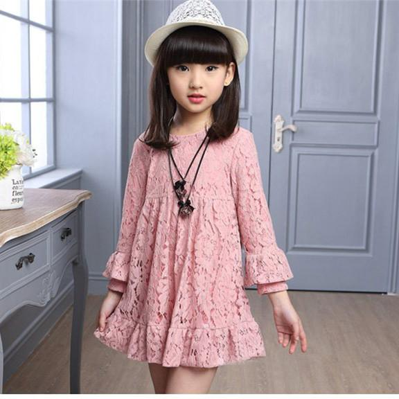 2016 Spring diseños más nuevos vestido de la princesa vestidos de encaje de manga larga de los niños del partido de niños de la manera Un nuevo ...