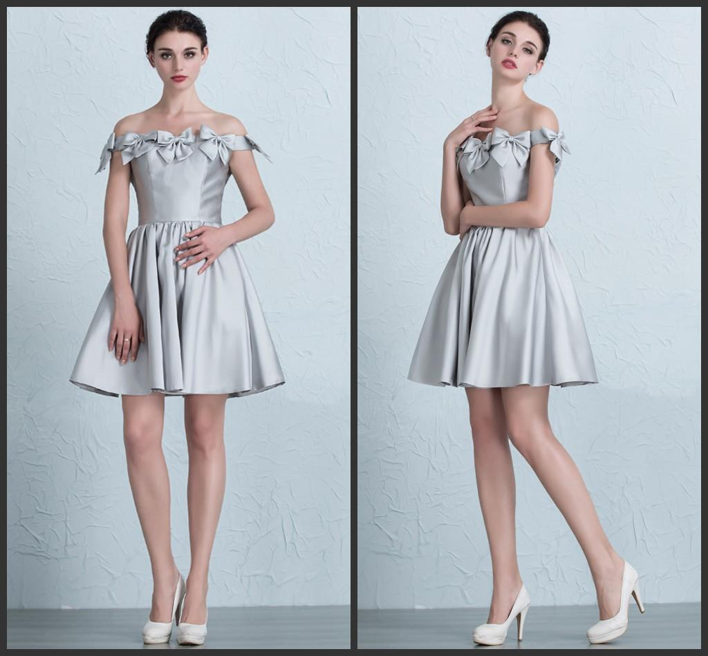 Silver Sweety Girl Cocktail Dresses Off Shoulder Lace-up Knee Length ...