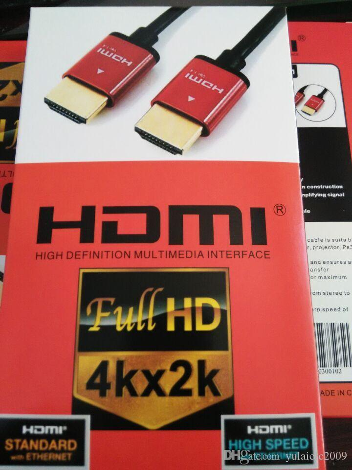 wholesale cololr box pack HDMI CABLE 10ft 3m 1.4V 4KX2K FOR HDTV WITH Ethernet low price