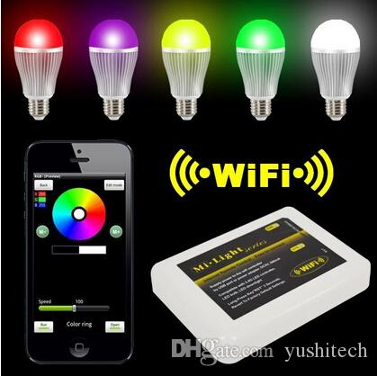Wireless E27 9W RGBW LED Mi Light Lamp Bulb 2.4G Wifi Remote Control Brightness Dimmer for iPhone 5S for iPad IOS Android OS 3 year warranty