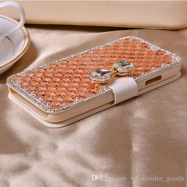 Luxury Bling Bowknot Crystal Diamond Wallet Flip Case Cover For iP h one Samn sung