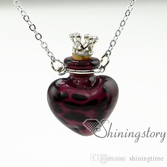 corazón pequeños frascos de perfume collares de aceite esencial difusor de aromaterapia collares pendientes frasco de vidrio collar colgante aceite esencial neckla