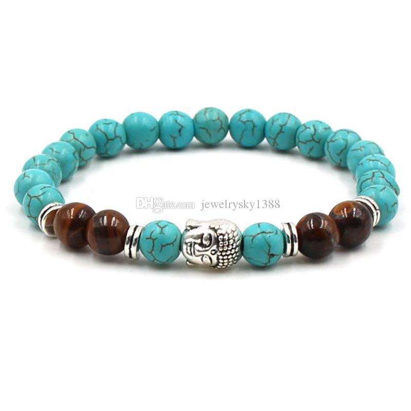 Charms testa di buddha perline di tigre Bracciale perline di pietra naturale 8mm pietre turchesi Bracciale elastico DONNA Gioielli spedizione shiipping