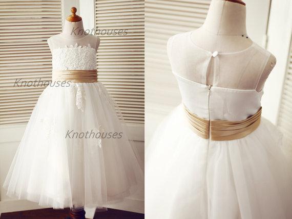 12e1a06c1 Lace Tulle TUTU Flower Girl Dress/Junior Bridesmaid Dress/Sheer Illusion  Neckline/Champagne Sash Belt/Kids Toddler Dress For Wedding Flower Girl  Tulle Dress ...
