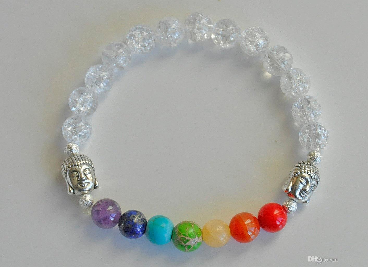 SN0223 Crystal Quartz Stone Buddha Chakra Power Energy Armband Reiki Mala Kralen Gebed Spiritualiteit Mind Body Spirit Armbanden