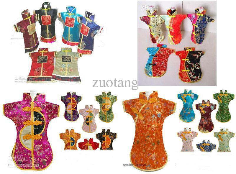 Luxury Chinese style Wedding Wine Bottle Covers Decoration Bags Silk Fabric Wine Clothes mix color style