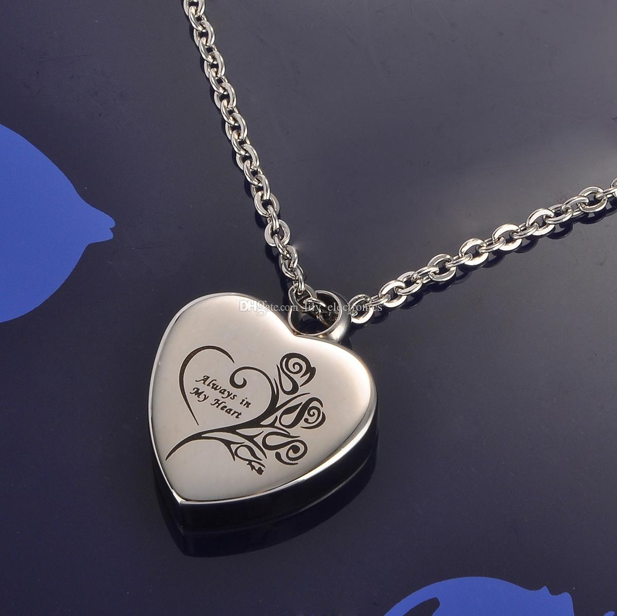 """Lily Stainless Steel Memorial Pendant """"Always in my heart"""" Urn Locket Cremation Jewelry Necklace with gift bag and chain"""