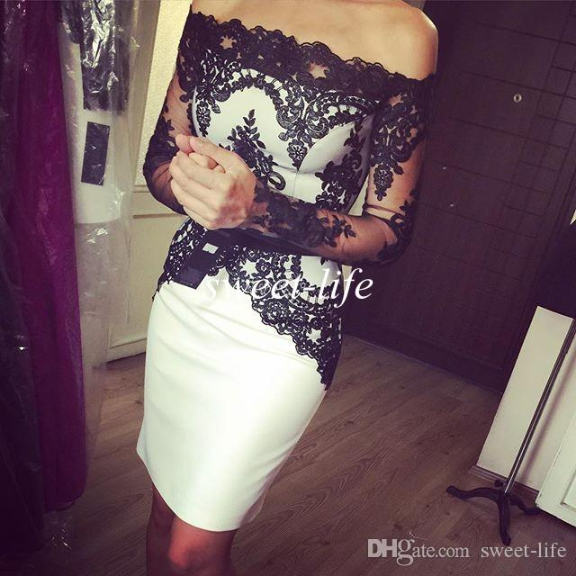 2019 Sexy White and Black Cocktail Dresses Sheath Off the Shoulder Long Sleeves Satin Party Queen Gowns Cheap Short Prom Homecoming Dresses