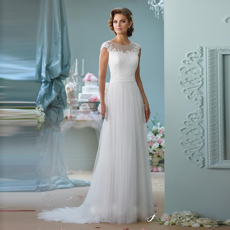Innovative Design Romantic O-neck with Sleeves Court Train A-Line ...