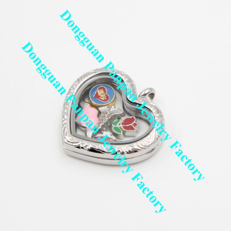 Panpan 316l الفولاذ المقاوم للصدأ منحوتة على شكل قلب العائمة المدلاة
