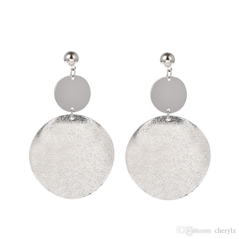 Double Round Radian Block Pendant Earrings Gold & Silver Frosted Surface Vintage Women Charm Ear Stud DC61