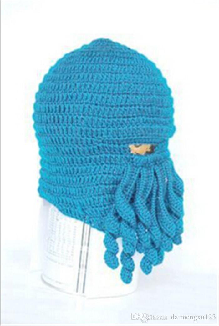 Vente chaude meilleur prix nouveauté à la main à tricoter laine drôle barbe Hiver Octopus chapeaux de fête de Noël au Crochet bonnets unisexe cadeau