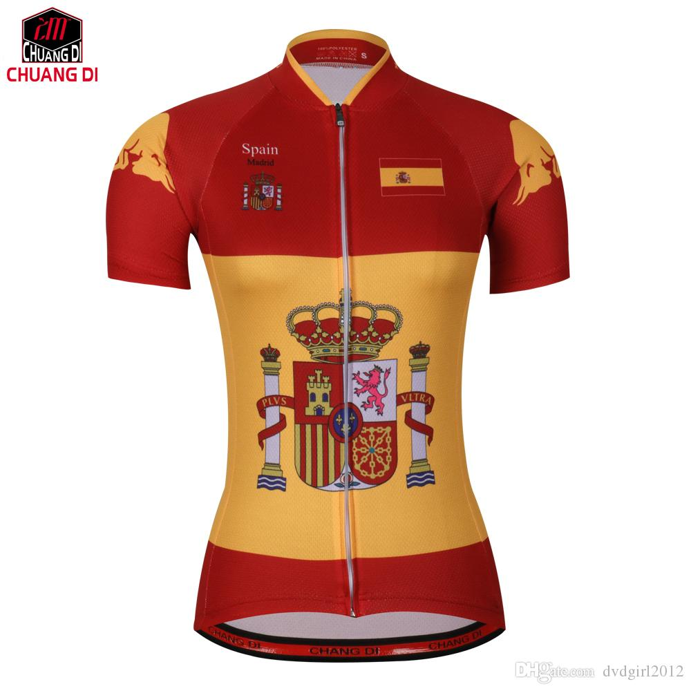 Spain Women Summer Outdoor Cycling Bicycle Jersey Clothing MTB ... 9887edbbe