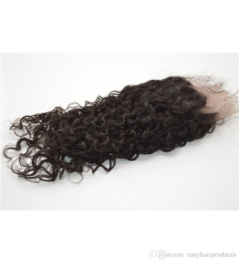 Molhado e ondulado Lace frontal com nós branqueados Burmese cabelo virgem fechamento frontal 13x4 com o cabelo do bebê natural preto pode ser tingido G-EASY