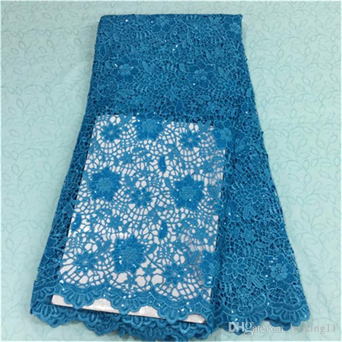 Lüks kırmızı çiçek tasarım fransız gipür dantel payetler ile afrika suda çözünür dantel kumaş için parti BW43-2,5yards / pc