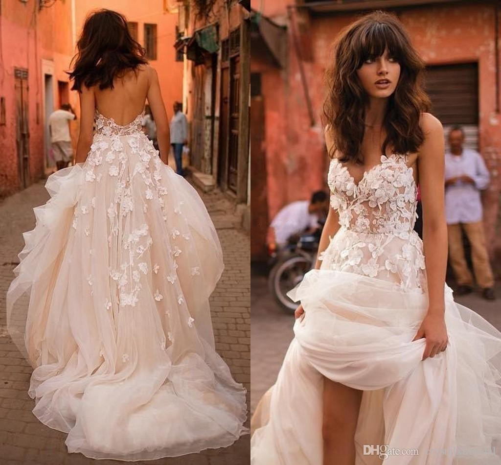Liz Martinez New Wedding Dresses 2018 Sexy with 3D Floral V Neck Illusion Backless Plus Size Elegant Garden Country Toddler Wedding Gowns