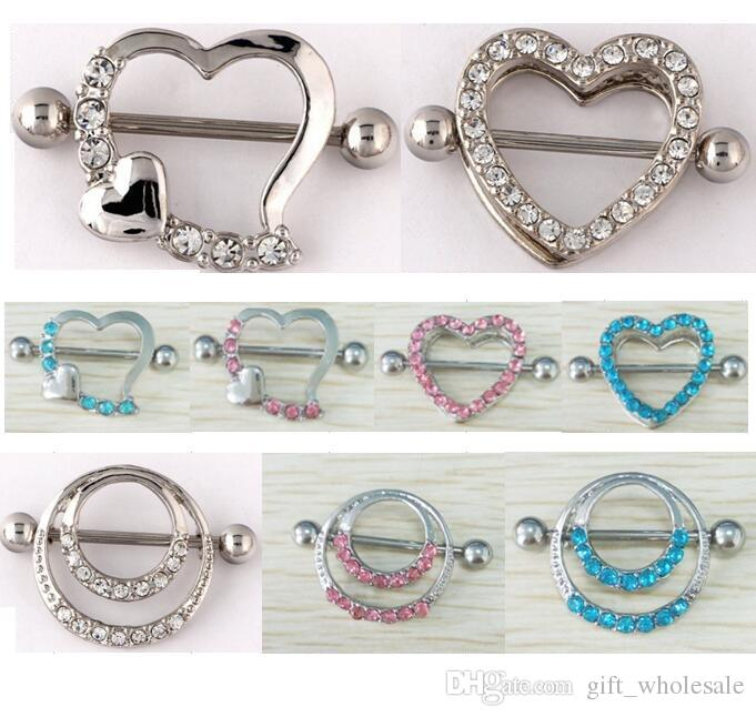 jewelry woman body from product clip double nipple heart circles rings on barbells sexy love jewellery wholesale shield piercing