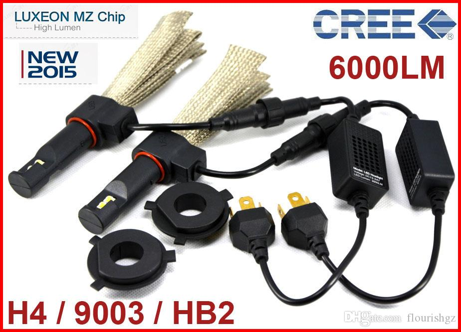 h4 9003 hb2 40w 6000lm cree led headlight luxeon mz chip high low