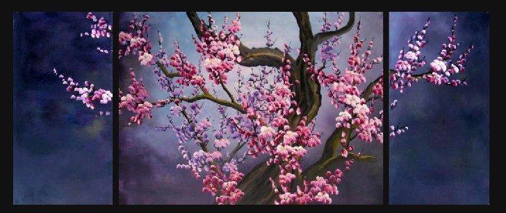 Cherry Blossom Canvas Wall Art best handpainted landscape cherry blossom flowers pictures oil