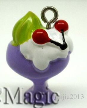 "Jewelry Findings Resin Charm Pendants Ice Cream Cherry Beads 23mm x 15mm7/8"" x 5/8"""