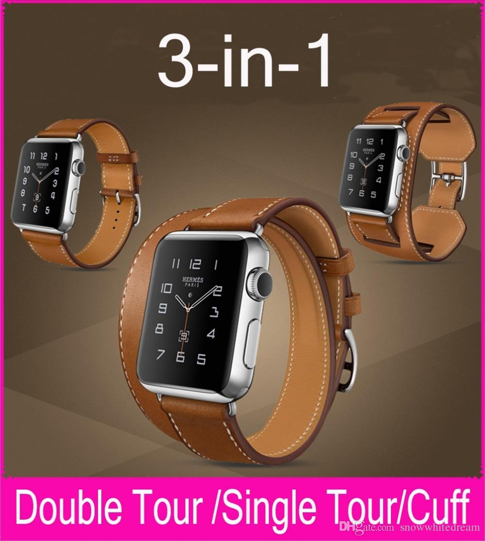 fb7371e54f9 Top Quality 3 In 1 Package Hermes Strap Genuine Leather Watchbands For Apple  Watch Double Tour Cuff 42mm 38mm With Different Wearing Methods Strap  Leather ...