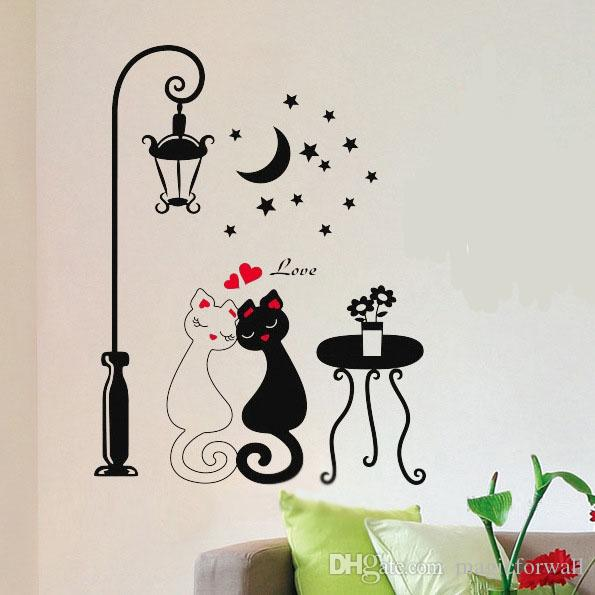 Road Lamp Wall Art Decal Sticker Zebra Cute Cat Road Light Wallpaper Decor Home Decoration Sticker Wall Art Decal