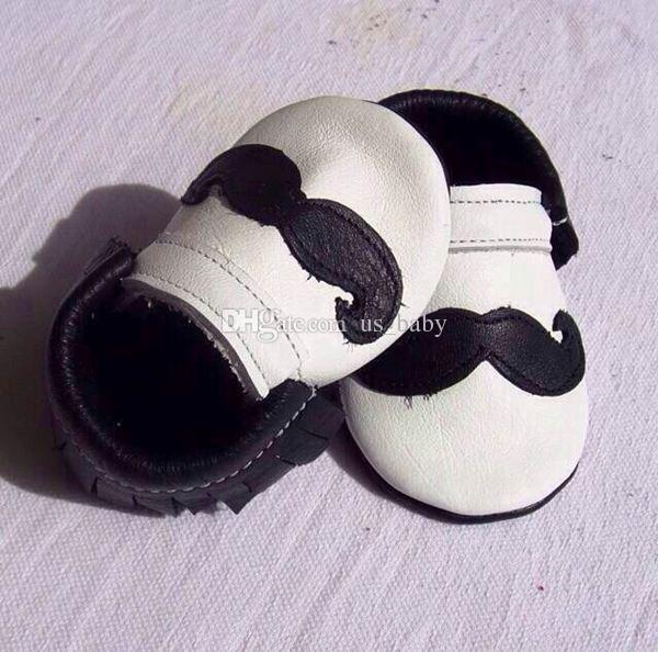 Fedex EMS Ship Baby Beard Moccasins Fringe Tassel Boys Leather Moustache Moccs Baby Genuine Leather Walking Shoes prewalker