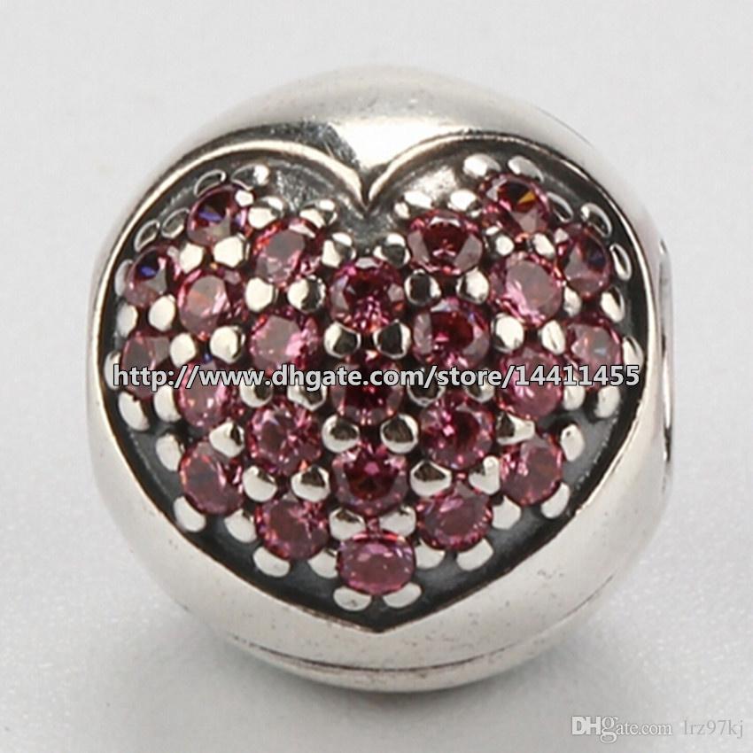 أصيلة 925 فضة الوردي مهد القلب كليب سحر الخرزة مع زركونيا مكعب يناسب الأوروبي باندورا مجوهرات أساور القلائد
