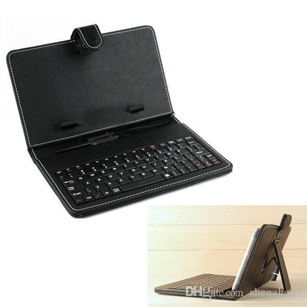 2 in 1 Black Leather Case 9 9.7 10.1 inch cover for Tablet PC Micro / USB port Keyboard & Folding Leather cover For ipad 2 3 4 5 air PCC016