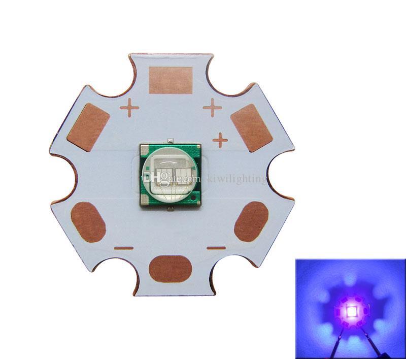 Epileds viruta 5050/7070 púrpura UV 365nm / 395nm llevó la luz de 20 mm Junta de cobre /