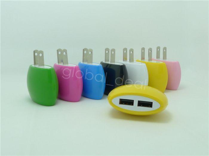 Forma de bollo Dual USB de viaje Cargador de pared Adaptador de corriente AC 5V 2.1A EE. UU. EE. UU. 2 puertos se enchufan para iPhone 6s 6 más samsung s4 s5 s6 edge
