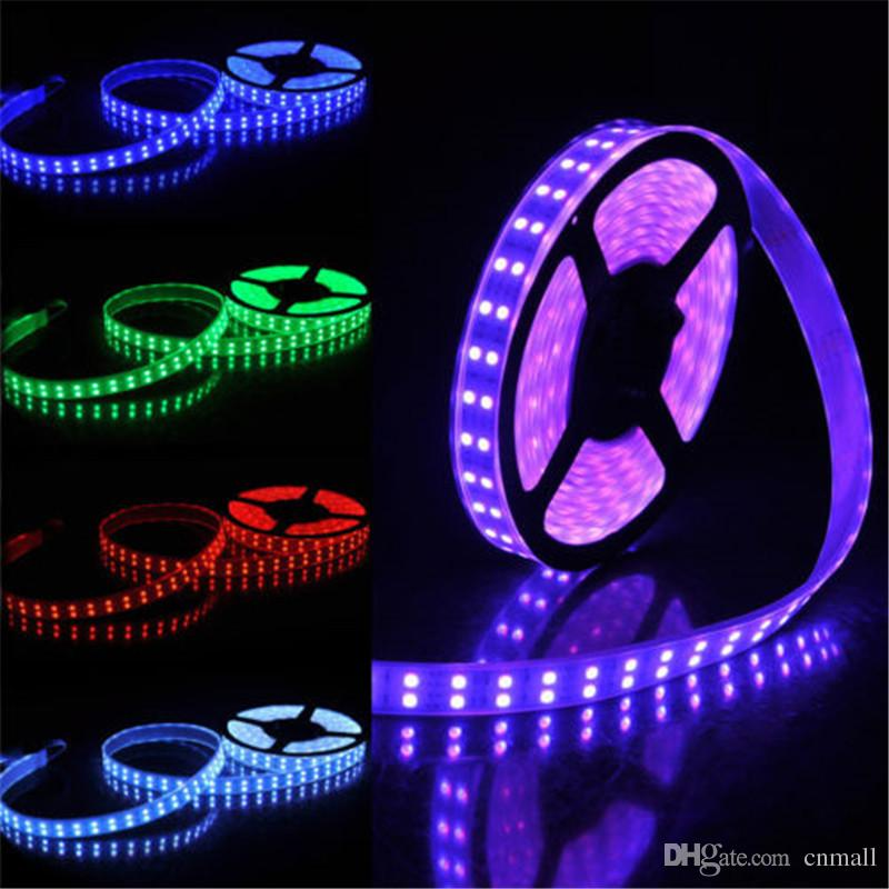 Bande LED Bande LED RGB Double Rangée 5M 5050SMD 600LEDs Bande lumineuse à LED RGB 5M Led Bande Flexible + Télécommande IR 44Key + 5A