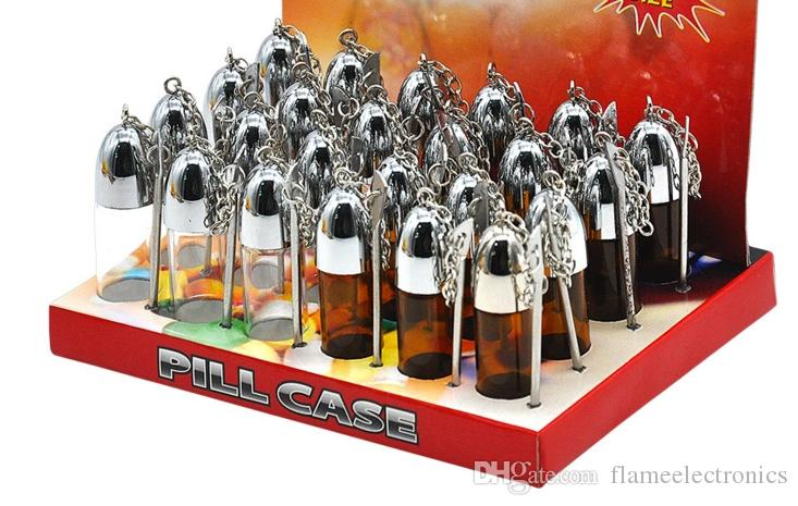 زجاج 57MM السعوط موزع رصاصة الصواريخ الفخم زجاجة السعوط مع حالة معدنية ملعقة شم السعوط حبوب منع الحمل