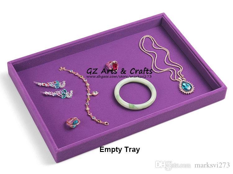Gioielli di lusso viola velluto display vassoio vassoio gioielli anelli collana bracciali orecchino vassoio gioielli organizzatore