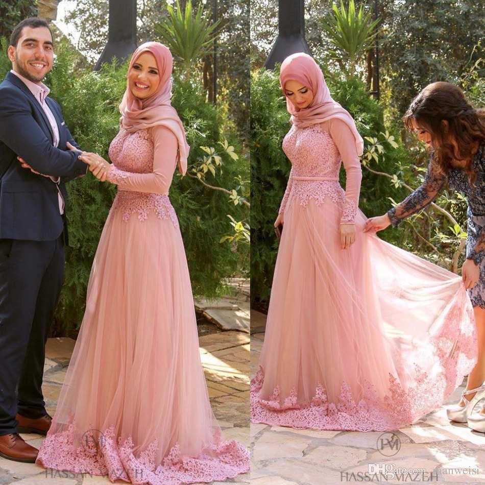 Discount 2016 Pink Muslim Wedding Dresses With Veil Long Sleeves ...