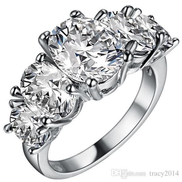 8 цветов кольца для женщин свадебные мужские кольца стерлингового серебра 925 пробы покрытые австрийским хрусталем свадебные овальные циркониевые сапфировые кольца