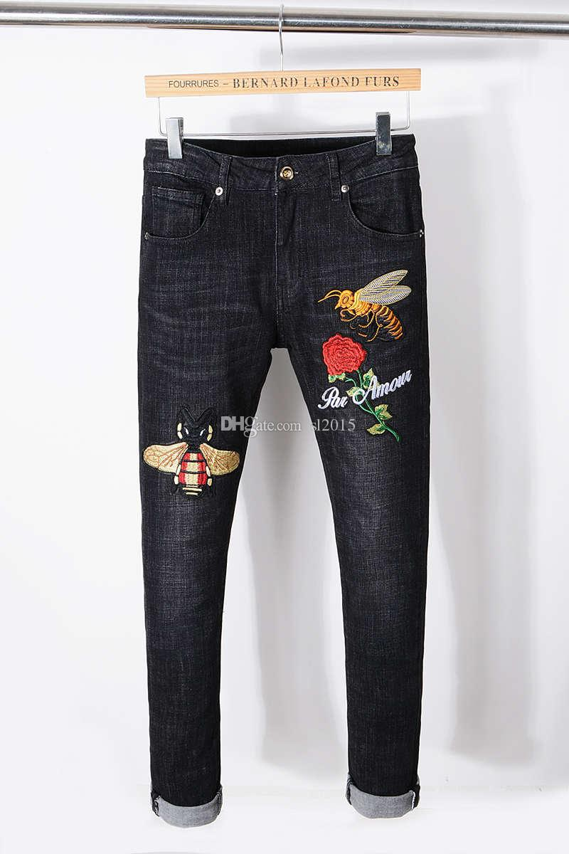 87e16854 New designer Italy Style Mens Distressed Bee Embroidered Pants Washed Black  Skinny robin jeans Slim biker Trousers fear of god jeans for men