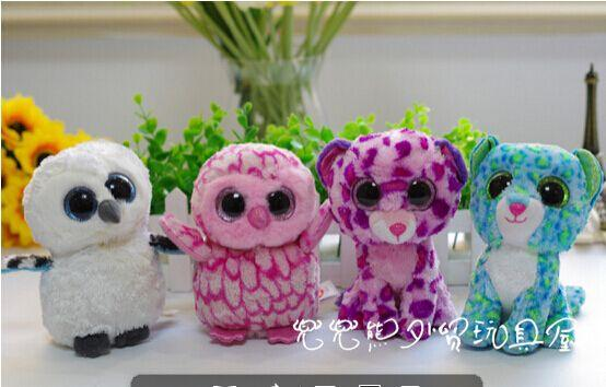 The New Style Ty Big Eyes Cute Owl And Leopard 15cm Plush Toys