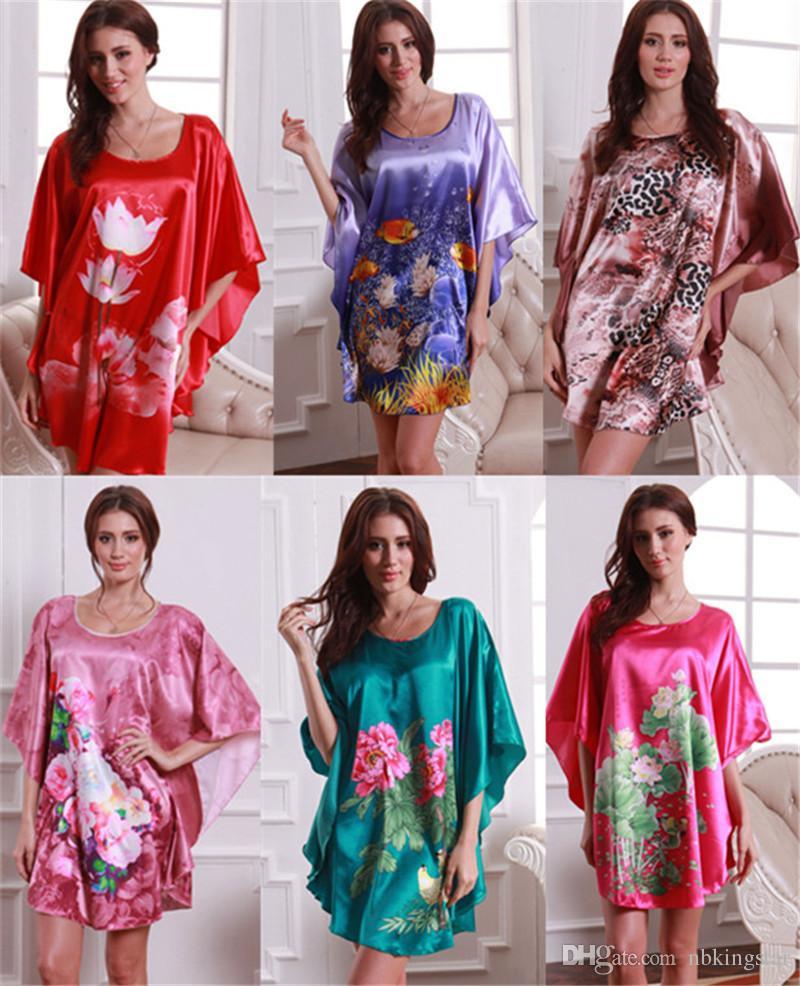 5e5069a4b337 2019 Hot Sale Women Silk Nightdress Cute Girl Casual Sleepwear Animal  Flower Printed Nightgowns Lady Nightdress Lounge Nightwear From Nbkingstar,  ...