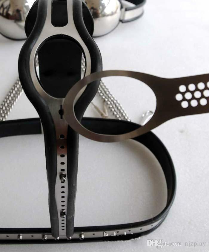 Cintura di castità in acciaio a T regolabile femminile / Coscia / reggiseno / colletto / manette set 5 pezzi in 1 set di castità i