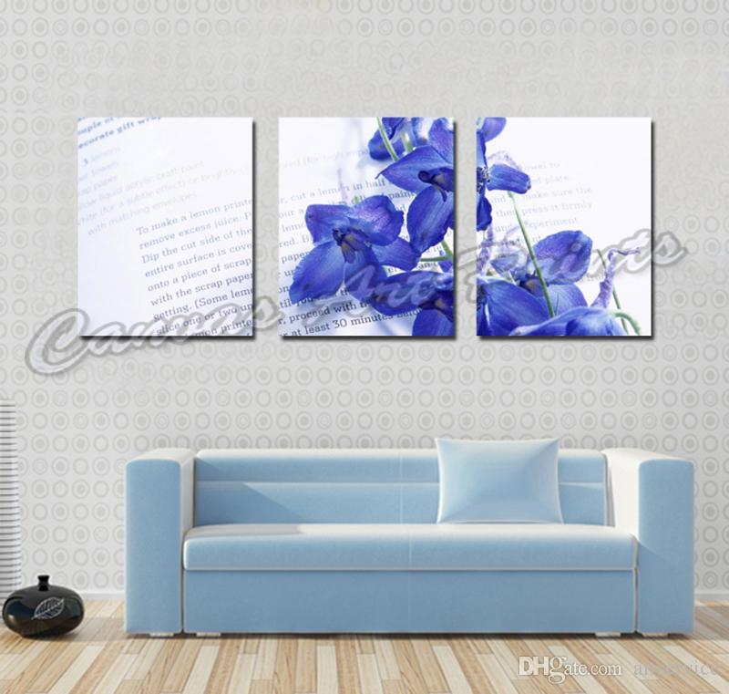 Wholesale Cheap Paintings Home Art Painting Blue Flower 3 Piece Canvas Art Picture Giclee Prints Wall Paintings for Sale