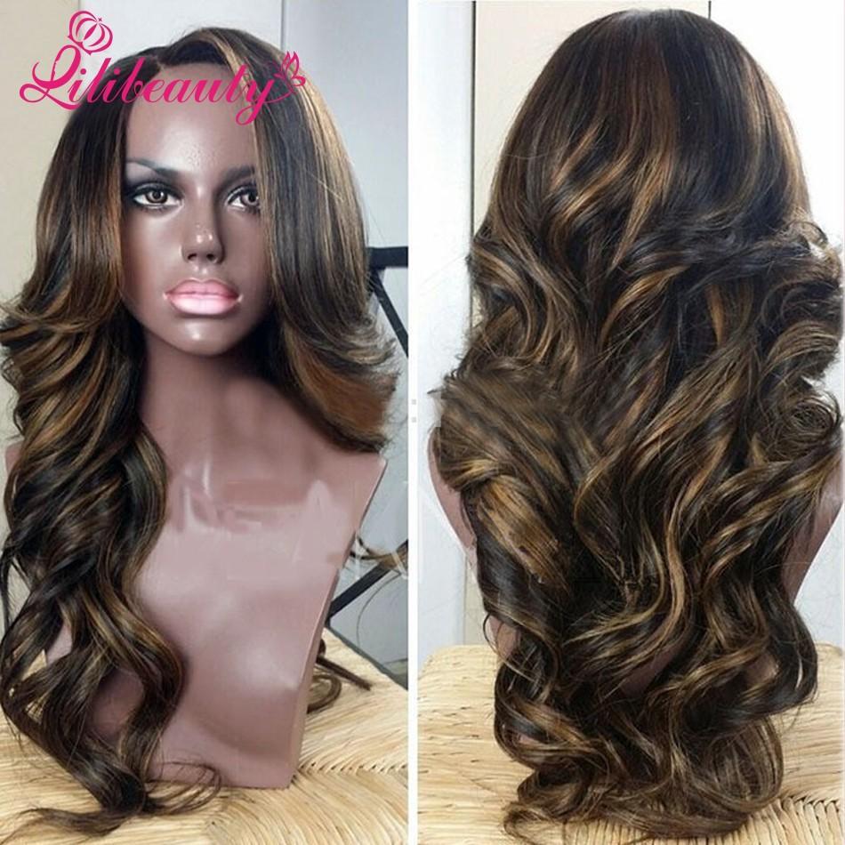 cheap body wave lace wig peruvian wavy full lace wigs highlight