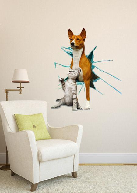 Cute Dog And Cat 3d Animal Wall Mural Art Decor Wall Stickers ...
