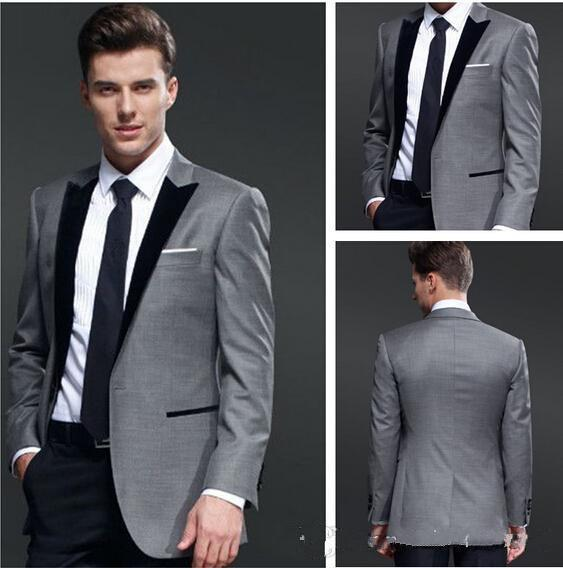 Custom Made One Button Light Grey Groom Tuxedos Black Vents Peak ...