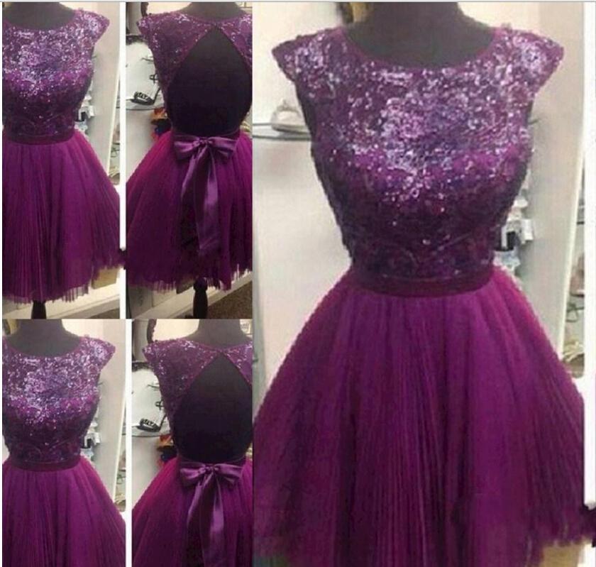 Sexy A Line Short Knee Length Purple Prom Dresses Sleeveless Crew ...