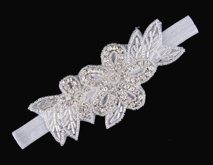 2015 Baby Bling Flower Rhinestone Headbands Girl Elastic Crystal Hairbands Bridal Hair Accessories Christmas Baptism Wedding Headwear