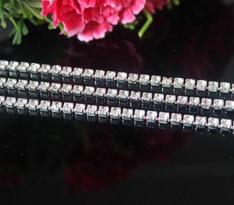 5YardsDIY 1Row Clear Rhinestone Cup Chain Trimming For Garment Jewelry Wedding Accessories Silver Base SS12 3mm